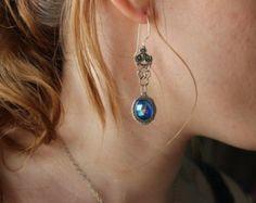 Vintage Earrings chainmaille earrings, sapphire earrings, filigree earrings, summer jewelry, wedding earrings, bride earrings