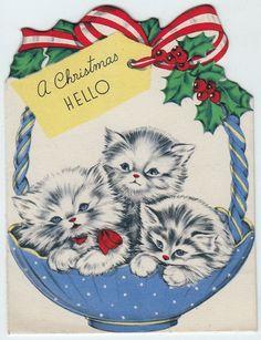 kittens in blue basket - vintage Christmas card