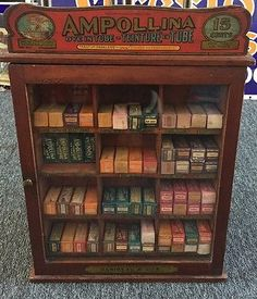 Antique-AMPOLLINA-Dye-In-Tube-Baribeau-Son-Counter-Store-Cabinet-Display