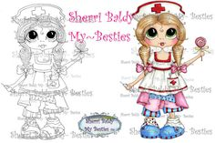 INSTANT DOWNLOAD Digi Stamps Big Eye Big Head Dolls Digi IMG933 By Sherri Baldy