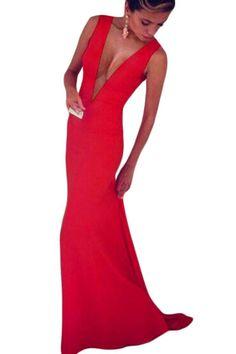 8a80b2d94fd9 Red Plunge V Sleeveless Jersey Maxi Dress Šaty Na Školní Ples