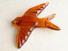 Carved Bakelite Bird Brooch