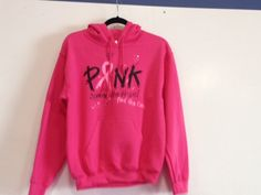 """Early detection saves lives. Help spread awareness with this hooded sweatshirt."""" Spread the hope find the cure!"""" These cute sweatshirts come in white or pink. - 8-ounce, 50/50 cotton/poly pill-resista"""