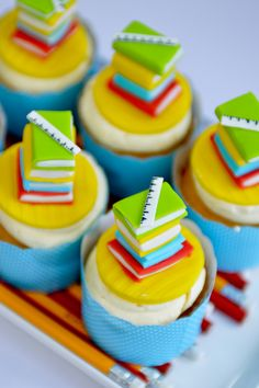 Cute cupcakes at a Back to School Party #backtoschool #partycupcakes