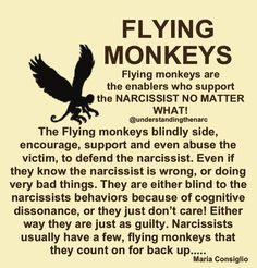 What does a flying monkey have to do with a Narcissist? Flying monkeys take enabling to a whole new level, backed by selfish motivations. Narcissistic People, Narcissistic Behavior, Narcissistic Abuse Recovery, Narcissistic Personality Disorder, Narcissistic Sociopath, Narcissistic Mother In Law, Abusive Relationship, Toxic Relationships, Relationship Quotes