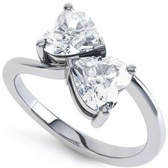 Two Stone Heart Shaped Diamond Engagement Ring