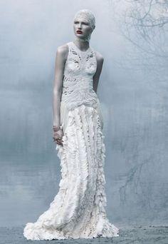 Alexander McQueen s/s 'cold summer' by solve sundsbo for love magazine s/s ghosts wear ball gowns Editorial Fashion, Fashion Art, High Fashion, Fashion Design, Crazy Fashion, Dark Fashion, Couture Fashion, Glamour, Mode Baroque