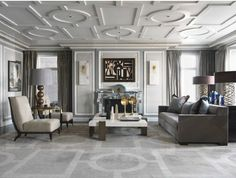 Over The Moon: Gray & Gold home with coffured ceiling