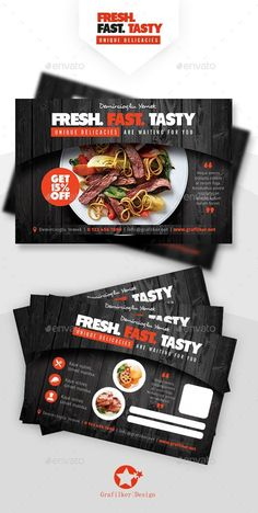 Buy Restaurant Postcard Templates by grafilker on GraphicRiver. Restaurant Postcard Templates Fully layered INDD Fully layered PSD 300 Dpi, CMYK IDML format open Indesign or lat. Food Poster Design, Menu Design, Food Design, Flyer Design, Postcard Template, Postcard Design, Restaurant Flyer, Pizza Restaurant, Menu Flyer