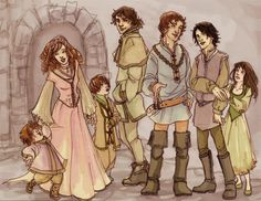 Rickon, Sansa, Bran, Theon, Robb, Jon, and Arya. See, they were once a happy household of children.