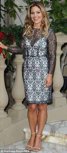 Candice Cameron Bure; gorgeous pewter lace dress