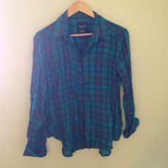 Blue plaid shirt! This plaid shirt is light weight and great pop of color! There is a one pocket in the left top side. It's a women's size medium American Eagle Outfitters Tops Button Down Shirts