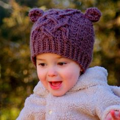 Crochet Pattern Little Bear Cable Hat - pattern 114 - 4 sizes included, baby toddler and childrens sizes - Instant Download