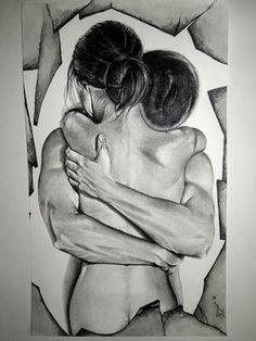 "Saatchi Online Artist: Surajit Chatterjee; Charcoal 2012 Drawing ""Love"""