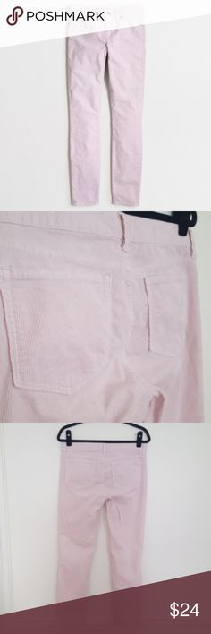 "J. Crew Factory Blush Lilac Skinny Ankle Cords J. Crew Factory skinny ankle mid rise cords in a color between blush pink and lilac. Rise is 9"" and inseam is 27"". 99% cotton, 1% elastacene. Corduroys have a small light mark on the back of the left knee, and one small mark on the left hip (see close-ups). Size 28. J. Crew Pants Skinny"