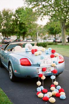 Red And Blue Wedding Get Away Car Decorate Like 1983 Weddingcar Cars