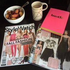 #whatsonmydesk • Every day I'm hustling! Breakfast and coffee (in my new mug from the @starbucksroastery) with a side of fashion of course!
