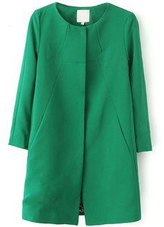 Green Long Sleeve Slim Pockets Trench Coat - Sheinside.com