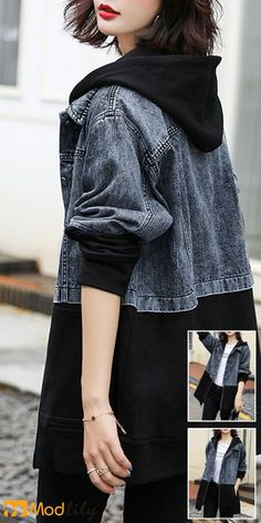 trendy Outerwear Coats with competitive price Fashion Sewing, Denim Fashion, Look Fashion, Hijab Fashion, Korean Fashion, Girl Fashion, Teen Fashion Outfits, Casual Outfits, Fashion Dresses