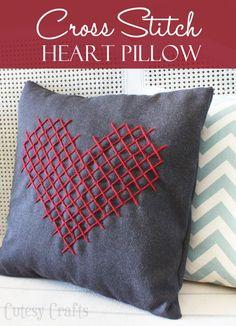 Вышивка крестом Подушка сердце для День Святого Валентина
