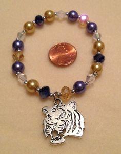 LSU stretch bracelet with silver tiger charm, $18