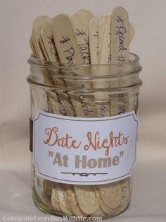 "Date Nights ~ Date night doesn't happen as often as it should when you have little one's at home.  {{sigh}}  But, with these 30 fabulous ""at home"" date night ideas that are easy and inexpensive you can get back on track.  For a spontaneous date take turns drawing a stick from the jar to decide what your date night will be."