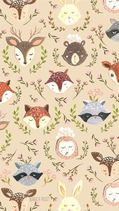 25 Cutest iPhone 8 Plus Wallpaper Case Cover - Animals Illustrations Cellphone Wallpaper, Iphone Wallpaper, Nursery Wallpaper, Phone Backgrounds, Wallpaper Backgrounds, Modern Wallpaper, Art And Illustration, Pattern Wallpaper, Print Wallpaper