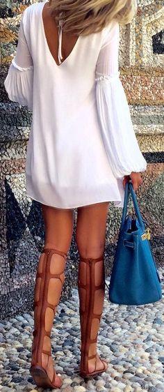#bs0811 #street #style #fashion #inspiration |V-Back LWD + Gladiators