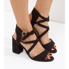 New Look Black Wide Fit Suedette Block Heel Sandals (£26) ❤ liked on Polyvore featuring shoes, sandals, black, mid heel sandals, black block-heel sandals, mid-heel sandals, strappy sandals and strappy heeled sandals