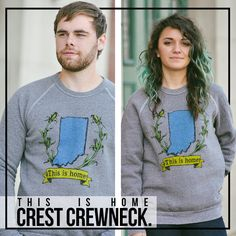 Indiana This is Home crewneck sweatshirt   United State of Indiana, $35