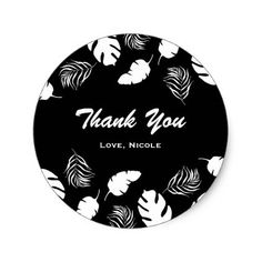 #bridal - #Black & White Tropical Leaves Elegant Chic Party Classic Round Sticker
