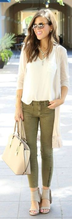 Little Lace Cardi Olive Green Jeans Outfit Idea by Sophistifunk