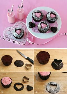 Heart Cut-out Cupcakes Tutorial! #heart #cupcakes #valentines #cupcakes #recipe  thecakebar.tumblr...