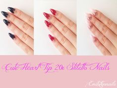 20xHeart Tip,Stiletto nails,Cute Hand painted nails,False nails,Nail Tips+GLUE