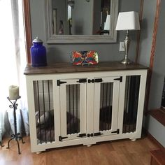 Dog Crate - We love what our BB friends have done with their Farmhouse Style dog kennel!
