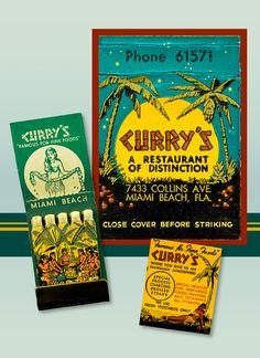Vintage Tropical Feature matchbook Print shows all sides. Currys Restaurant was a popular business in Miami Beach Florida in the  1950s and 1960s. Hawaiian Luau and girl on the Matchbook Art - by MatchbookMemories $15.00