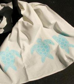 Aqua Sea Turtle (3 small turtles) Kitchen Towel