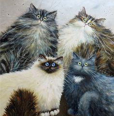Barisha, Febergé, Bagheera and Chocolate - commissioned painting of four cats by Kim Haskins
