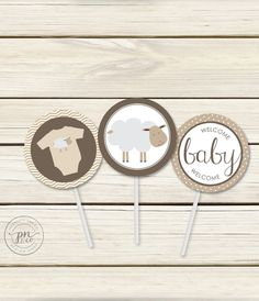 Instant Download Sheep Baby Shower Toppers/Gift by papernoteandco