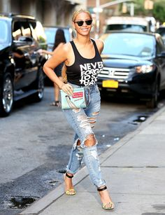 Beyonce rocked ripped denim while out and about in NYC May 12.