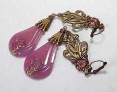 Vintage Art Nouveau Czechoslovakian Art Glass Earrings
