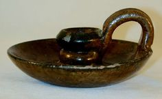 1941 Isaac Stahl Redware Candlestick Holder Rare Glazed with Olive Brown Coloring Applied Finger Loop, Powder Valley Pennsylvania