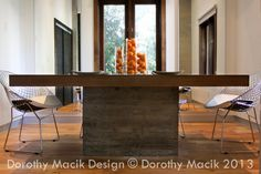 Custom Concrete and Wood Dining Table by DorothyMacikDesign, $7800.00