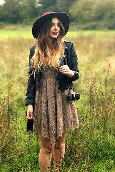 Pretty style with the lace dress and leather jacket x Inspiration for my purple hat!
