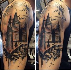 Fresh last session on this trash polka castle Dracula piece. Mostly healed here minus the left towers halloween tattoo Raven Tattoo, Get A Tattoo, Tattoo Art, Tattoos For Guys, Cool Tattoos, Dracula Tattoo, Vampire Tattoo, Castle Tattoo, Knight Tattoo