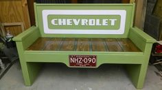 Chevrolet tailgate bench built by Kyle Grove Gladwin, Michigan. All wood, no tailgate used.