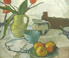 Anne Redpath (1895-1965) ,Still Life of Tulips and Oranges