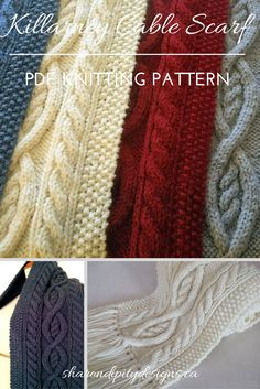 Cable Scarf Knitting Pattern by Sharondipity Designs