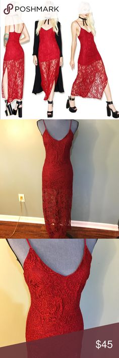 Honey Punch Cha Cha Lace Maxi Dress Adjustable spaghetti straps, V neck line, with a sexy side slit up the leg! Never worn! Purchased from dolls kill website NWOT - sold out everywhere online! Honey Punch Dresses Maxi