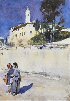 Landscape with Two Children, John Singer Sargent. ART & ARTISTS: John Singer Sargent - part 2 Watercolor Landscape, Landscape Paintings, Watercolor Paintings, Watercolours, Watercolor Architecture, Watercolor Sketch, Oil Paintings, Monet, John Singer Sargent Watercolors